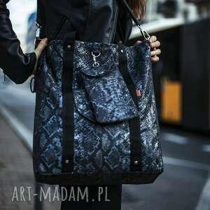 ręczne wykonanie na ramię duża torba shopper niebieski wąż