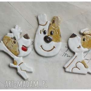 magnesy zestaw magnesów reksio, ceramika, magnes, pies
