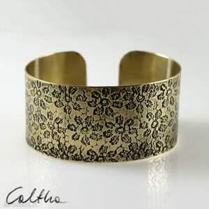 kwiatuszki - mosiężna bransoletka, bransoleta, szeroka, mosiężna, złota