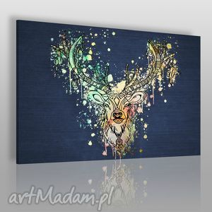 obraz na płótnie - jeleń boho kolorowy 120x80 cm 49601, jeleń, boho, łapaczsnów