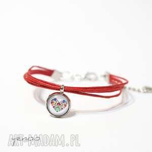 bransoletka - serce folkowe sznureczki, czerwona, bransoletka, serce