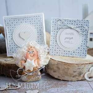 kartki aniołek jasnych myśli personalizowana mini kartka, pudełeczko, anioł