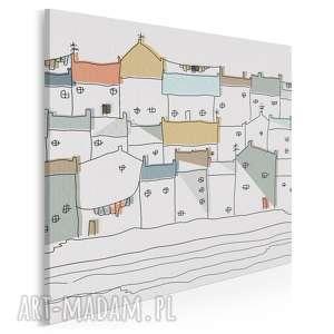 obraz na płótnie - domki miasto w kwadracie 80x80 cm 47302, domki