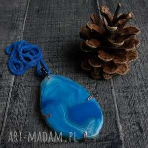 wisiorki wisior z niebieskim agatem miedzi biżuteria ezoteryczna, boho