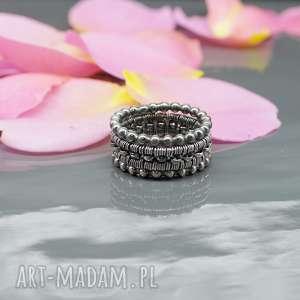wired - zestaw srebrnych obrączek - pierścionek, obrączka, wire, wrapping