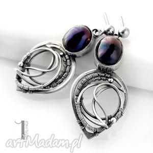 Prezent Skadi I - srebrne kolczyki z perłami, srebro, 925, wirewrapping, perły
