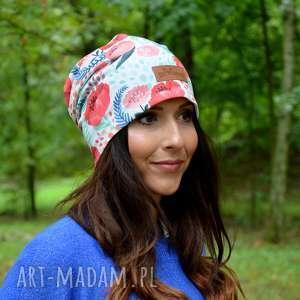 czapka kolorowe maki ciepła jesienna beanie (jesien, kwiaty, dzianina)