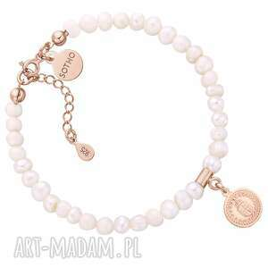bransoletka z pereł naturalnych z medalion z różowego złota