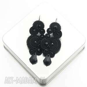 kolczyki nespire black soutache, wieczorowe, sutasz, orientalne, rękodzieło