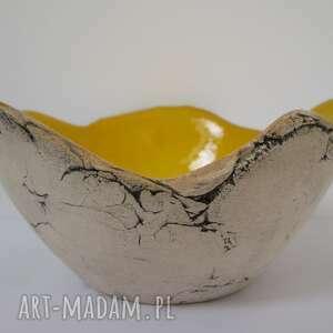 dekoracje żółta artystyczna miseczka sardynia rozm s, dekoracyjna miska
