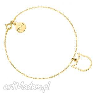 złota bransoletka z delikatnym kotkiem, bransoletka, srebro, złota, modna, delikatna
