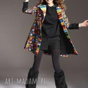 płaszcz stefania 2145, płaszcz, w kwiaty, moda damska, piekny