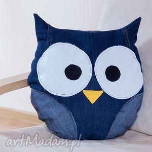 poduszki poduszka jeans - sowa, poduszka, jeans, recykling, miękka, ekopoduszka