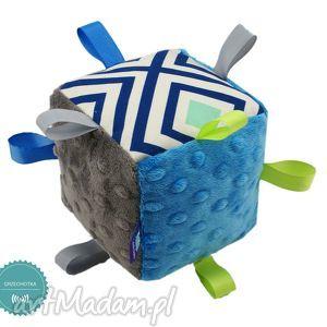handmade zabawki kostka sensoryczna grzechotka, wzór lagoon