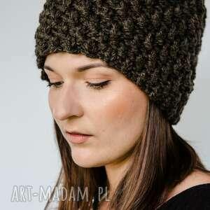 brązowa czapka hand made, z wełny, włóczkowa czapka, damska, wełna