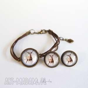 komplet - jeleń 2 sznureczki, kolczyki, bransoletka, komplet, bransoletka