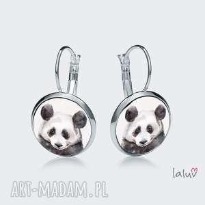 kolczyki wiszące panda, prezent, czarno, biała, puszysta, słodka, bambus