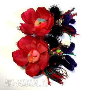 klipsy kwiatowe flamenco duże frida kahlo szaleństwo, klipsy, etno, boho