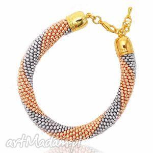 color gold - silver and bransoletka z koralików, bransoletki, zkoralikow