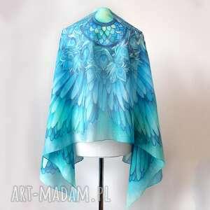 ręczne wykonanie chustki i apaszki szal jedwabny morskie skrzydła