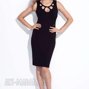 Czarna sukienka z ażurowym dekoltem XXL, ażurowa, dopasowana, wieczorowa, wizytowa