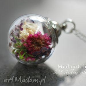 handmade naszyjniki 925 srebrny łańcuszek - bukiet kwiatów