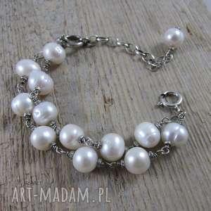 BRANSOLETKA Z PEREŁ W SREBRZE, bransoletka, srebro, perła