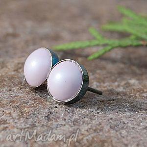 d006 pastelowe drobinki- sztyfty srebrne - kolczyki, srebrne, oksydowane, sztyfty