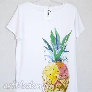 ANANAS koszulka bawełniana L/XL biała, koszulka, bluzka, ananas, nadruk, bawełna