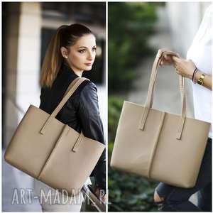 duża filcowa torebka - minimalistyczna beżowa ze szwem, filc, filcowa, cielisty