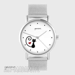 Zegarek, bransoletka - kotek, serce metalowy zegarki yenoo