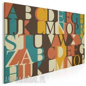obraz na płótnie - litery alfabet vintage 120x80 cm 74401, litery
