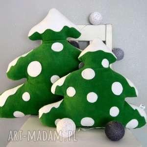 ręcznie wykonane upominki świąteczne mała choinka z polaru - poduszka ozdobna