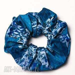 gumka scrunchie - blue garden, gumka, do włosów, scrunchie