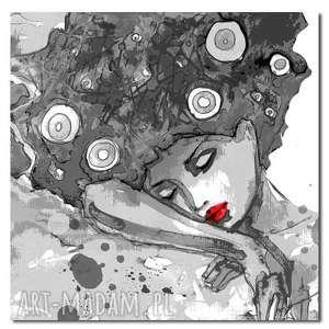 obraz kobieta 13 -80x80cm design czerwone usta, kobieta, szarości, usta