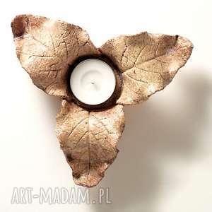 Prezent lampion jesienny 3-listny brązowy, lampion, świecznik, jesienny, dekoracja
