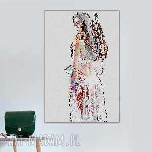 obraz na płótnie, dziewczyna mozaika, 80 x 120, do salonu, sypialni
