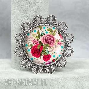 romantyczna broszka z rÓŻami w szkle - róże, kwiaty, kwiatowy, romantyczny