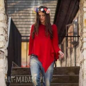 Sweter asymetryczny, sweter, beż, czerwony, artwełna