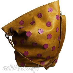na ramię skórzana kropa, torebka, skóra, naturalna, musztarda, liliowy torebki