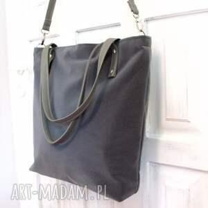 na ramię shopper bag, szara, torba, szyta, modna, wygodna, fashion, świąteczny