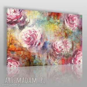 obrazy obraz na płótnie - róże kolorowy 120x80 cm 65601, róża, kolorowy