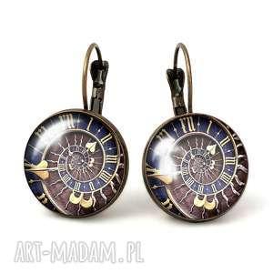 steampunk - duże kolczyki wiszące - eleganckie, prezent, zegar