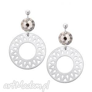 srebrne kolczyki z arabskimi rozetami i bezbarwnym kryształami swarovski crystal