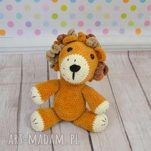leon lew to królewski zwierz, duży, miękki, prezent, szydełkowy, miły