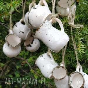 ceramika zestaw z dziesięciu miniaturowych dzbanuszków ozdób choinkowych 4