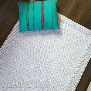 dywan ze sznurka baweŁnianego biaŁy 100x140 cm - dywan, chodnik, sznurek, druty