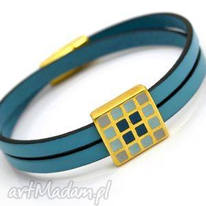 ręczne wykonanie bransoletka skóra magnetoos duall emalio blue