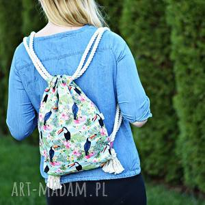 ręcznie zrobione workoplecak wodoodporny, worek plecak, torba na plecy, worek ze sznurami, plecak