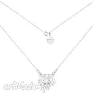 srebrny naszyjnik z tygrysem - minimalistyczny, zawieszka, kobiecy srebro